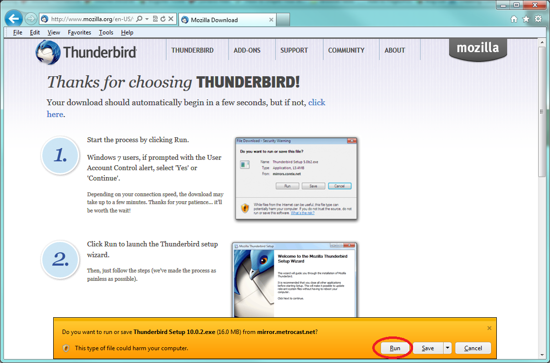 Setup Mozilla Thunderbird on Windows 7